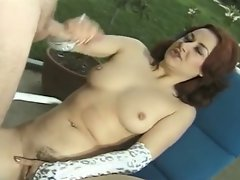 Cum starving red head slut jerking cock outdoors