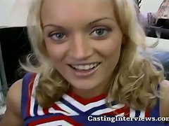 Young blonde cheerleader fucked hard in casting scene