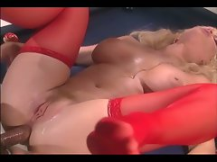 Big boobed blonde mom fucking in red stockings