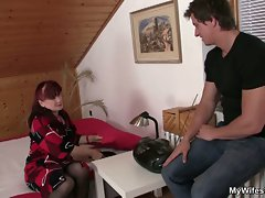 He finds her dildo and she sucks his cock