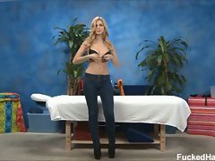 Sweet young abigaile undresses for her massage