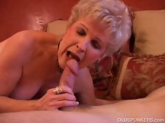 Granny lusts over hard cock deep in her mouth