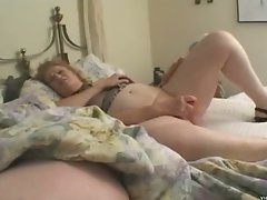 Horny blonde granny stuffing big dildo down her wet old pussy