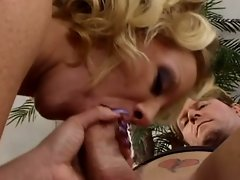 Ass plugged blonde mature in hardcore threesome