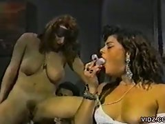 Cum dripping threesome as horny brunette whores share big cock