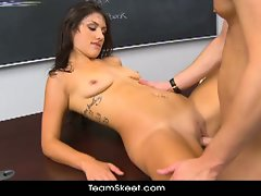 Hot brunette schoolgirl scarlet banks gets nailed