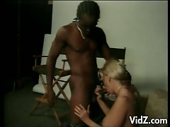Blonde milf slut fucks super black stud