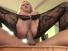 Blonde milf with huge melons gets ass fucked