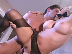 Busty secretary fucking in stockings