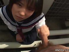Rino sayaka jerks him off in the bathroom