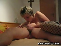 Busty mature wife in stockings homemade fucking