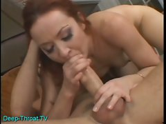 Monster cock pounding horny redhead slut cum hungry throat