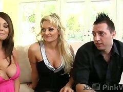 Busty brunette gets seduced by older couple