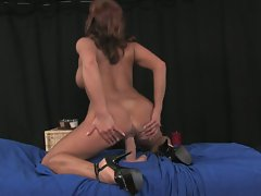 Busty brunette milf rubs and toys pussy
