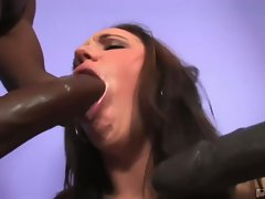 Brunette lindsay kay takes on two black monster cocks