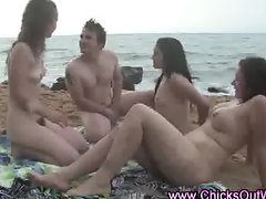 Real naked amateur group on beach