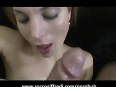 Rocco Siffredi Slaps an Amateur then Cums on Her