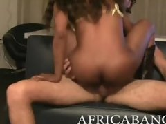 Superb African amateur pounded by white man meat