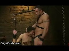 Clamped nipples gays sucks cock to his master