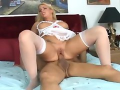 Busty blonde nurse fucking in a teddy and white thigh high nylons