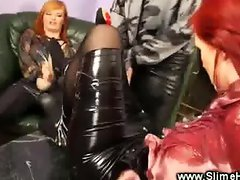 Classy lesbos toying with strapon cock