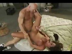 Horny big-tit brunette MILF slut sucks