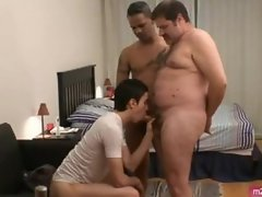 Twink fucked by two straight guys