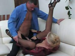 Blonde Russian mom gets licked and then banged on the couch