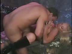 Busty blonde babe Bridgette Kerkove has a nice rack and gets nailed in the foggy outdoors