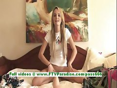 Sara cute blonde girl riding huge dildo on the bed