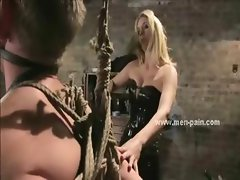 Emo mistress filled with tattooes and cock in men in pain bondage sex fucking immobilized sex toy