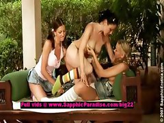 Tania and Juliette and Tina lusty lesbian babes teasing