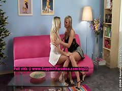 Salma and Karie lusty lesbian babes teasing