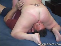 Mistress demands a horny man to get her ass hole licked