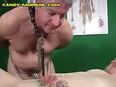 Gray haired cuckold man licks the black jizz off her tattooed belly