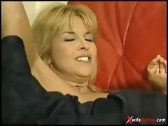 Mature housewife fucked on red couch