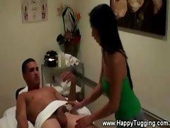 Hot asian masseuse gives handjob