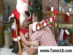Blonde teen cutie with nice tits gets played with and then gagged