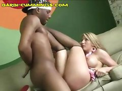 Blonde hottie bimbo gets her yummy snatch filled with black cock