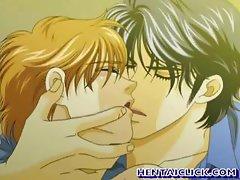 Anime gay kissed an bareback fucked