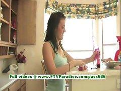 Brianne gorgeous brunette girl choosing right vibrator