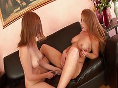 Hot babes sharing a dildo