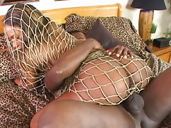 Babe fucked through a net