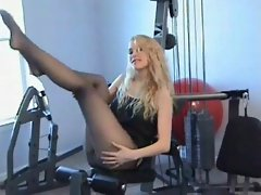 Courtney's black pantyhose