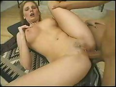 Blond babe gets fucked in the ass