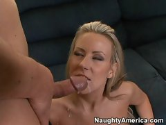 Busty Carolyn Reese gets a hot load of cum sprayed into her mouth