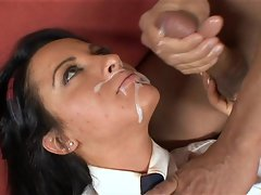 Deena Daniels receives a hot load in her mouth