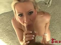 Blonde milf Carolyn Reese gives big dick mouthfuck
