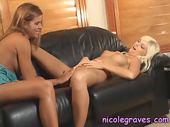 Naughty lesbian Nicole Graves dildoes her girlfriends tight wet snatch