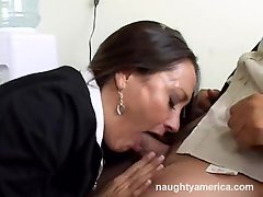 Hot chick Michelle Lay deep throats a huge shaft